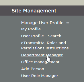 Department Manager Link at Bottom of Web Page