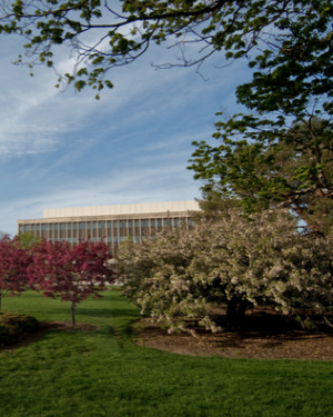 View of the Hannah Administration Building in Spring